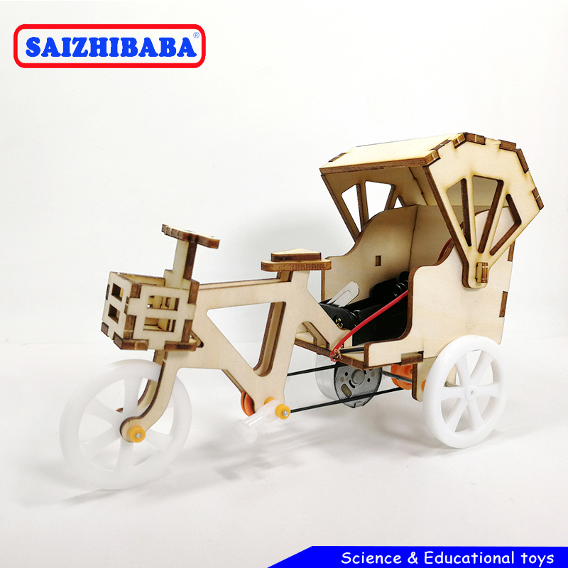 Saizhibaba Kids DIY Inventions Science Kit Kids Electric Toys Tricycle Model STEM Education School Project Creative Boy Toy Gift