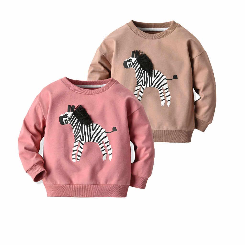 가을과 겨울 라운드 목 유아 어린이 베이비 보이 긴 소매 스웨터 만화 동물 얼룩말 셔츠 탑스 티 의류