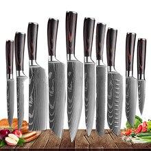 Japoński nóż kuchenny zestaw Laser damaszek wzór ostry tasak ze stali nierdzewnej krojenie noże kuchenne narzędzia