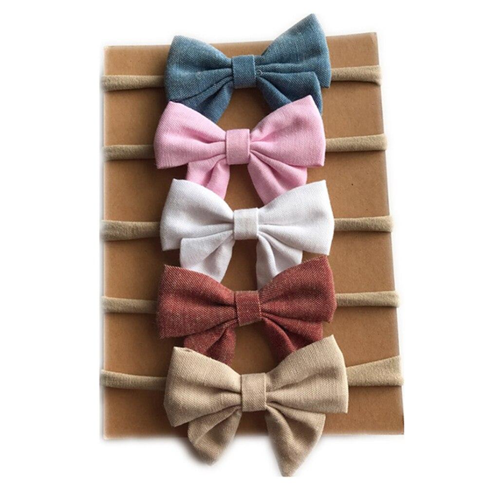5pc bebê arcos de náilon bandana para meninas recém-nascidos arcos de cabelo elástico bowknot faixas de cabelo atacado bebê crianças coreano acessórios de cabelo