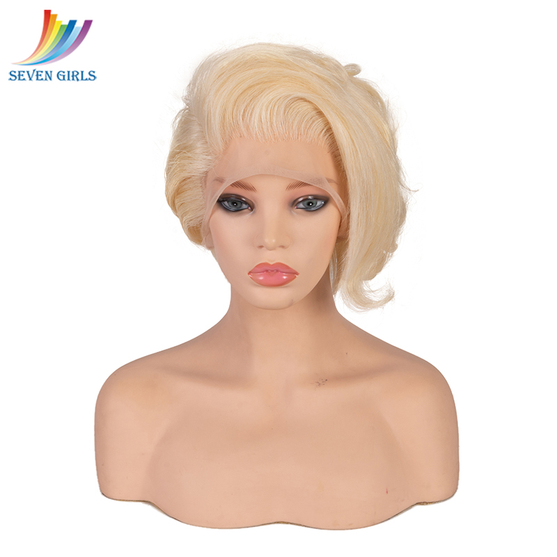 Sevengirls 613# Blonde Full Lace Wig Brazilian Natural Wave Remy Hair 8-10 Inch Short Human Hair Wigs For Women Free Shipping image