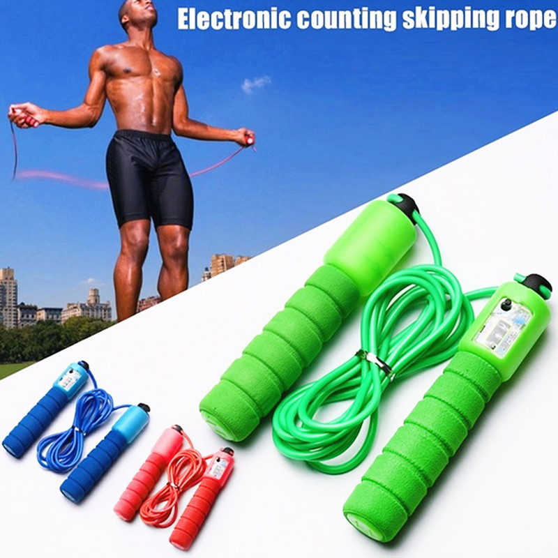 1PC Professional Sponge Jump Rope With Electronic Counter Adjustable Fast Speed Counting Skipping Rope Wire Exercise Equipments