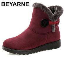 BEYARNE ClassicFashion śniegowe buty ciepłe futro damskie buty botki zimowe buty dla kobiet zimowe buty damskie buty damskie buty tanie tanio Flock ANKLE Klamra Stałe E1069 Dla dorosłych Mieszkanie z Buty śniegu Pluszowe Okrągły nosek Wiosna jesień RUBBER