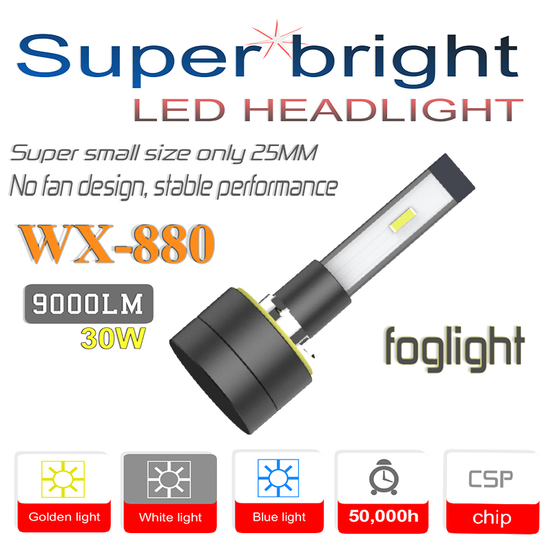 WX-H27/880/881 LED Car Headlight Bulbs Fog Light, Super Mini 30W 6000K 9000Lm, H1 H3 H4/HB2 H7 9005/HB3 9006/HB4 H8 H9 H11 5202