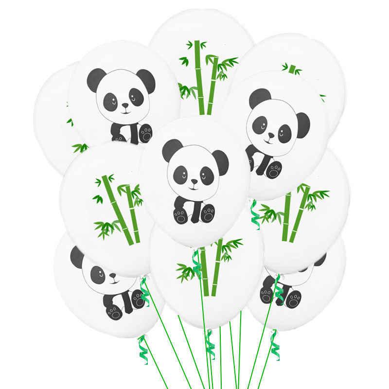 10pcs Confetti Ouro Verde Dos Desenhos Animados Panda Impresso Balão De Látex Decoração Do Partido Balões de Aniversário Dos Miúdos Fontes Do Partido Do Tema Panda