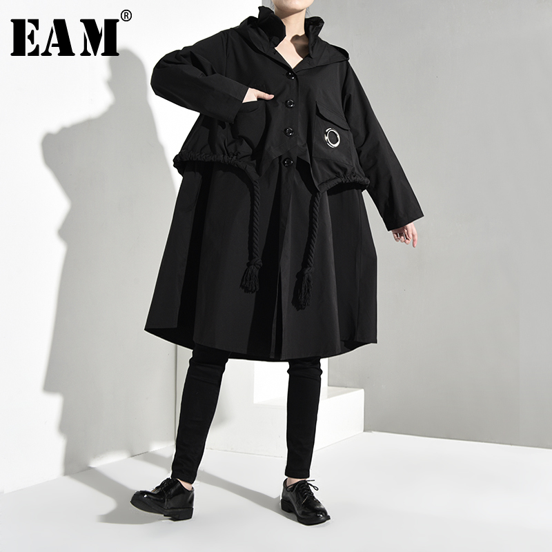 [EAM] Women Ruffles Drawstring Big Size Trench New Hooded Long Sleeve Loose Fit Windbreaker Fashion Autumn Winter 2019 1B069