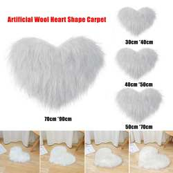 New Fluffy Love Heart Shape Rug Floor Mat Cover Anti skid Artificial Wool Copy Sheepskin Hairy Carpets Blanket Living Room Bedro Dywan Dom i ogród -