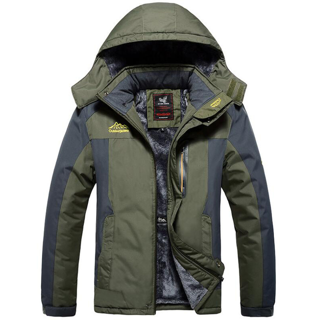 Winter Outdoors Jackets Plus Size 5XL 6XL 7XL 8XL 9XL Thicken Fleece Warm Coats Men Outwear Waterproof Windproof Hooded Jacket Others Men's Fashion