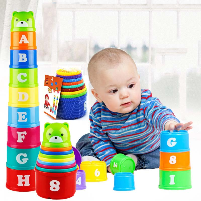 Color Cartoon Stacking Cups Children's Puzzle Fun Piles Of Plastic Toys Infants And Children Early Childhood Education Gift Kids