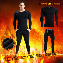 Sportswear Underwear-Set Winter Men Jogging-Suit Compression-Tights Thermal-Suit Base-Layer