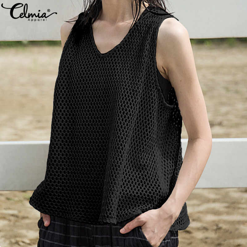 Celmia Zomer Mesh Visnet Mouwloze Sheer Tops Vrouwen T-shirts Sexy Perspectief Tee Casual Shirt Solid Beach See Through Blusas