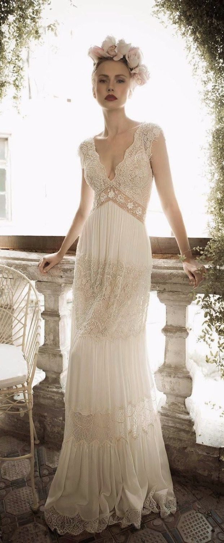 Bohemian Style Wedding Dresses Sleeveless V-Neck Count Train Floor Length Lace Beach Bohemian Lace Wedding Dress Time Limited