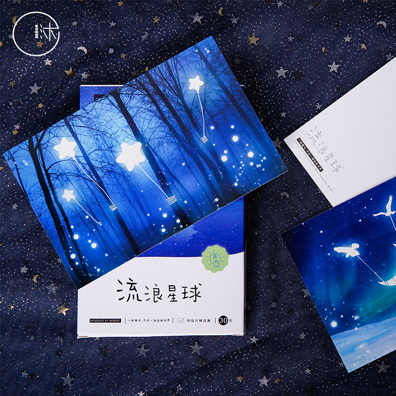 Boxed Postcard Wandering Planet Hand-Painted Cartoon Luminous Stars Artistic Student Small Fresh Card Blessing Stationery