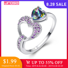 JROSE Classic Fashion Heart Jewelry Lover Rainbow Fire Mystic & Purple Cubiz Zirconia Silver Ring Size 6 7 8 9 Engagement Ring(China)