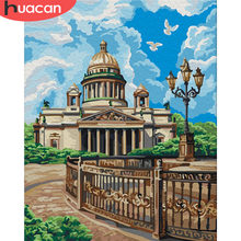 HUACAN Oil Painting By Numbers City Scenery Kits Drawing Canvas DIY HandPainted Pictures Coloring Art Gift Home Decor(China)