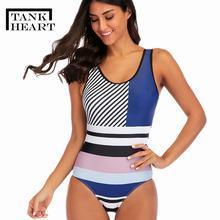 Женский купальник в винтажном стиле с сердечками, большие размеры, монокини, пуш ап, большие размеры