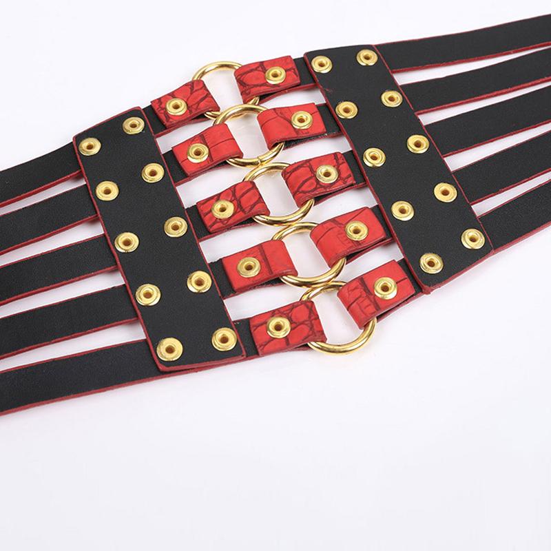 2019 brand design vintage metal Ring Belt Gold Ladies Women Belts Female Fashion Rivet Wide Waist Elastic 5 Straps PU Belt