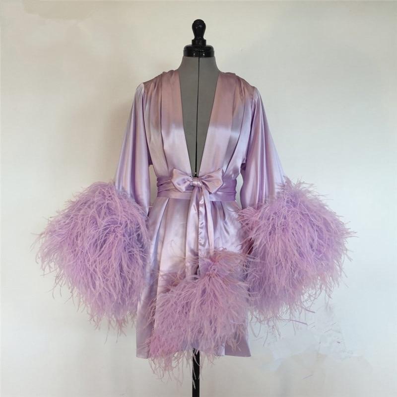 Short Bathrobe for Women Pink Feather Knee Length Lingerie Nightgown Pajamas Sleepwear Women's Luxury Gowns Housecoat Nightwear
