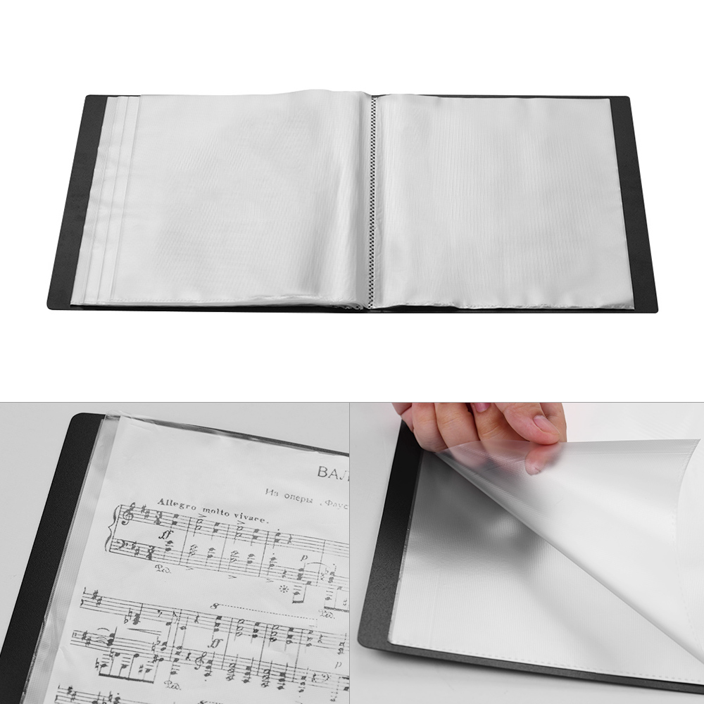 Soft Touch A4 Display Presentation Folder Book Smooth Leather 24 Pockets Black
