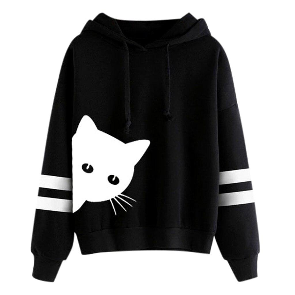 Cute Cat Print Women Sport Hoodies Winter Fall Long Sleeve Oversized Casual Sweatshirts Tops Teen Girls Hooded Pullovers Cartoon