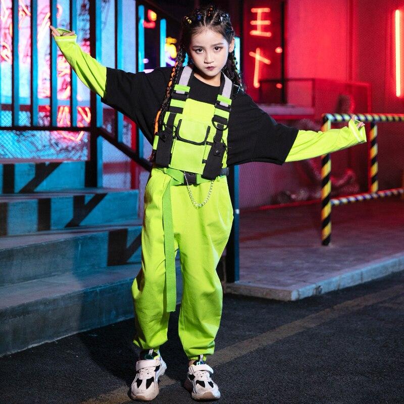 Winter Girls Jazz Dance Costume Children Hip-Hop Catwalk Tide Costume Street Dance Performance Costume T-Shirt Jumpsuit DWY2675