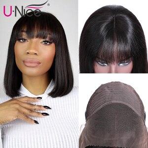 Image 5 - Unice pelo Bob peluca franja de encaje frontal pelucas de cabello humano 8 14 pulgadas Bob corto peluca Remy brasileña con flequillo Peluca de encaje para mujeres negras