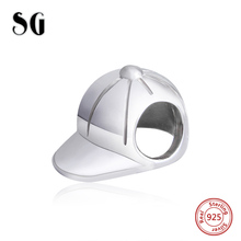 SG Design Silver 925 Original Antique Baseball Cap Charm Bead Fit Authentic Pandora Bracelets sterling-silver-Jewelry Gifts
