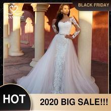 להסרה רכבת 2 ב 1 חתונה שמלת 2020 אפליקציות ארוך שרוול בת ים כלה שמלת נסיכת Swanskirt K118 Vestido דה Noiva