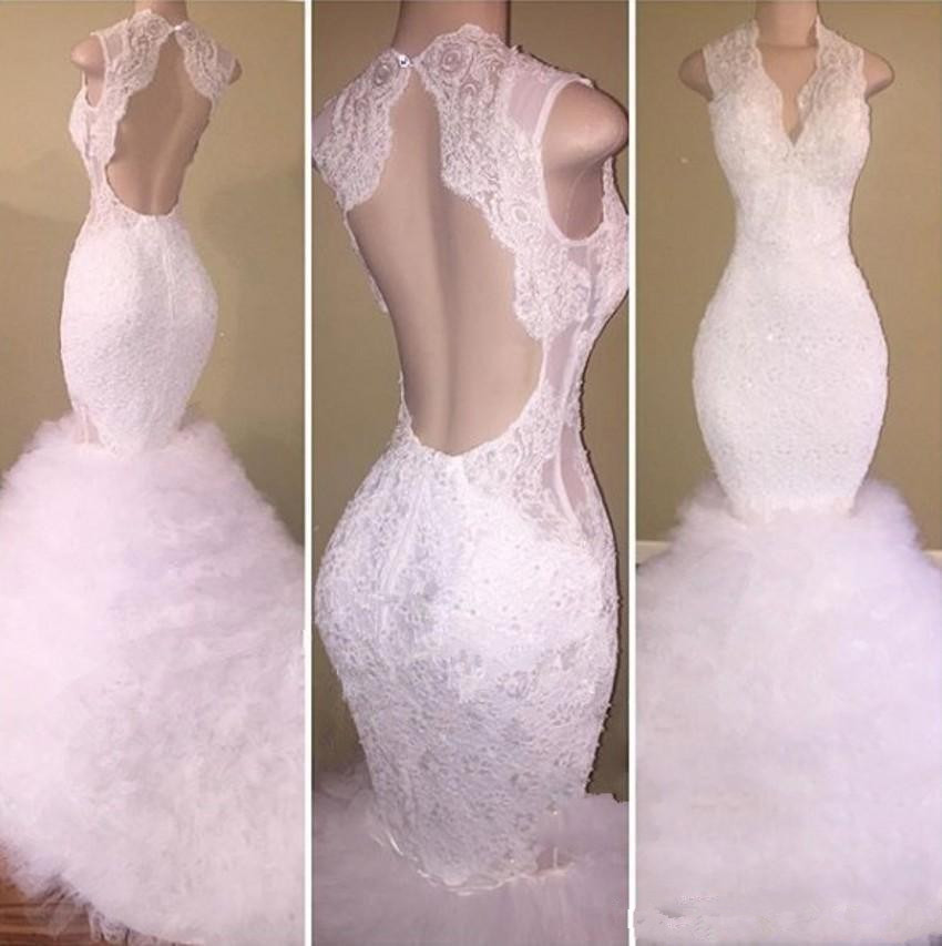 Gorgeous White Lace Prom Dresses 2019 vestidos de gala Deep V Neck sexy Open Back Mermaid Evening Dress Sweep Train prom dress