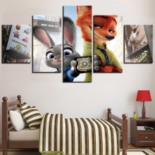 HD Printed 5 Pieces Movie Animal Rabbit and Fox Painting Poster Canvas Wall Art Picture Home Decor Living Room
