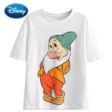 Disney Fashion Snow White and the Seven Dwarfs Letter Cartoon Print White T-Shirt O-Neck Pullover Short Sleeve Women Tee Tops(China)