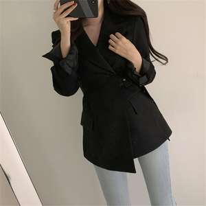 Image 5 - Colorfaith New 2019 Autumn Winter Women Jackets Office Ladies Lace up Formal Outwear Elegant Solid Pink Black Tops JK7042