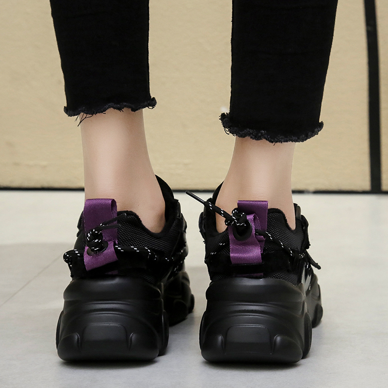 2020 Women Wedged Shoes Spring Sneakers Black Chunky Vulcanize Shoes Platform Sport Casual Shoes Plus Size 41 42 Women Sneakers 4