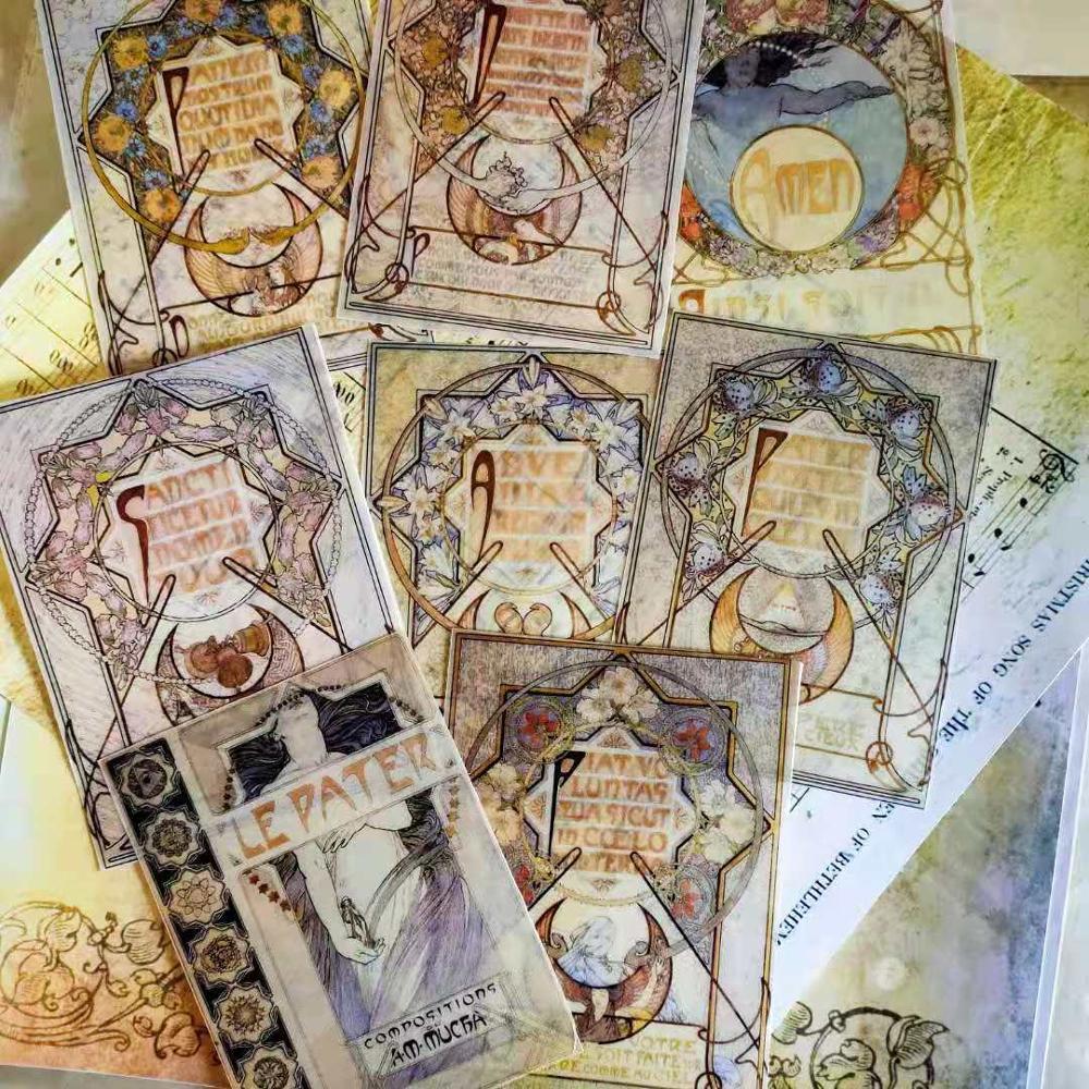 Vintage French Mucha Renaissance Retro Religion Byzantine Goddess Washi PET Sticker For Diary Scrapbook Deco Stationery Stickers