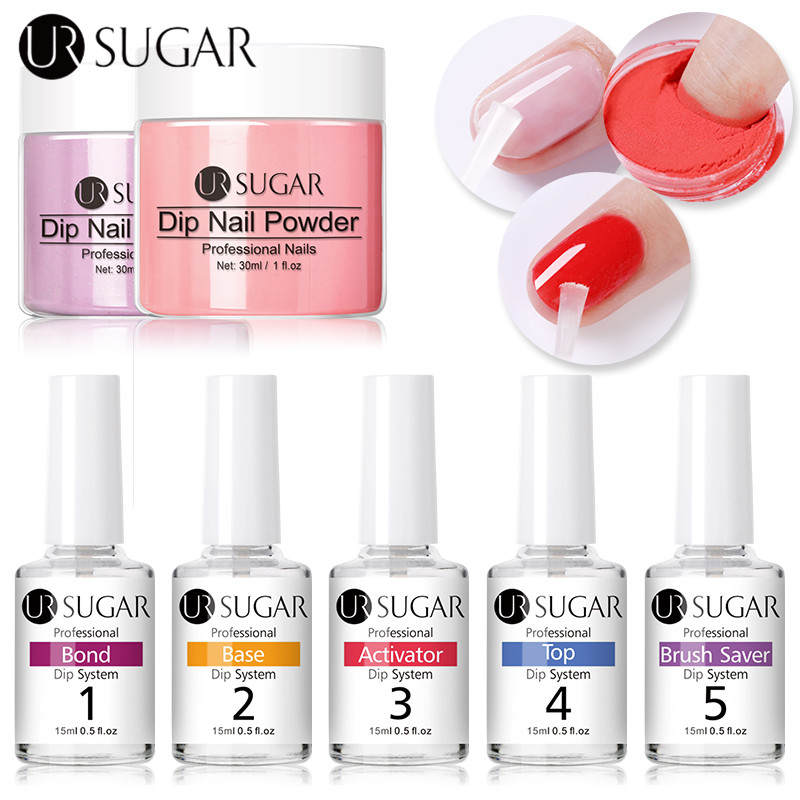 UR SUGAR 15ml Dipping Nail Powder Liquid System Clear Dip System Tools For Acrylic Powder Without Lamp Cure Nail Art Tools