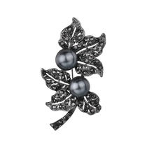 Gariton Jewelry Black Gun Plated Simulated Pearl Brooch Pins Vintage Rhinestones double Leaf Brooches for Women Gift