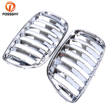 POSSBAY A Pair Car Front Center Wide Kidney Hood Grille Chrome Silver Racing Grilles