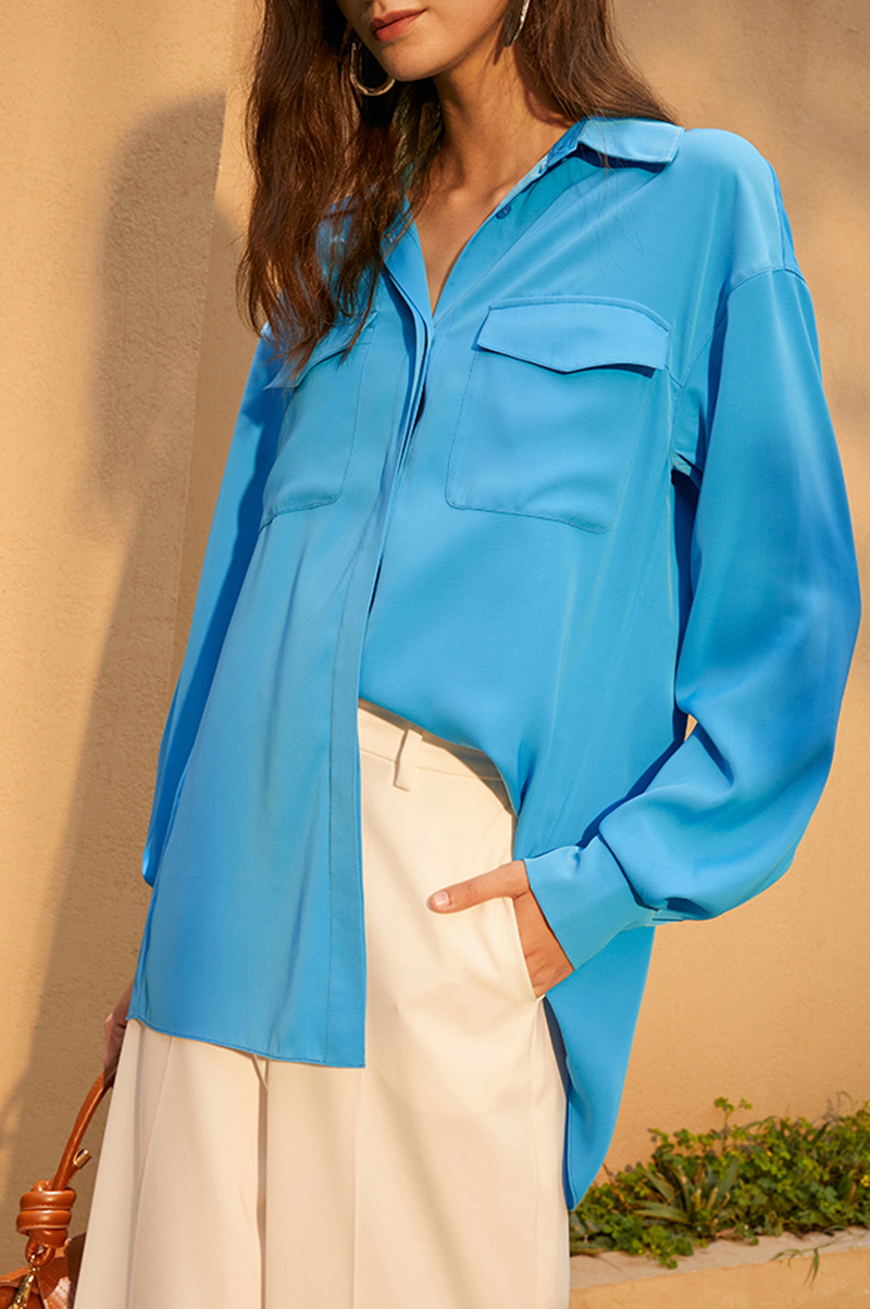 [EAM] Women Blue Brief Big Size Vintage Blouse New Lapel Long Sleeve Loose Fit Shirt Fashion Tide Spring Autumn 2020 1DA631