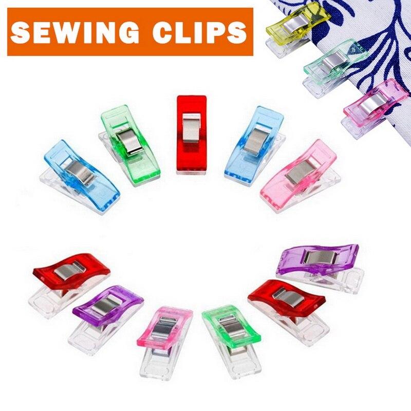 Quente 10 pçs caso de pé trabalho multicolorido plástico clipes tecido grampos retalhos hemming costura ferramentas acessórios 2020|Pregadores|   -
