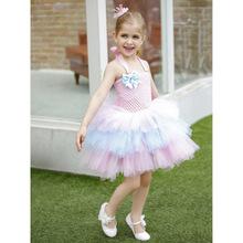 Pink Girls Dresses for Party and Wedding Flower Girls Layered Tulle Dress Kids Birthday Party Cake Bow Princess Dress Teen Dress fashion green and pink rainbow flower fairy costume for girls birthday cupcake layered dresses