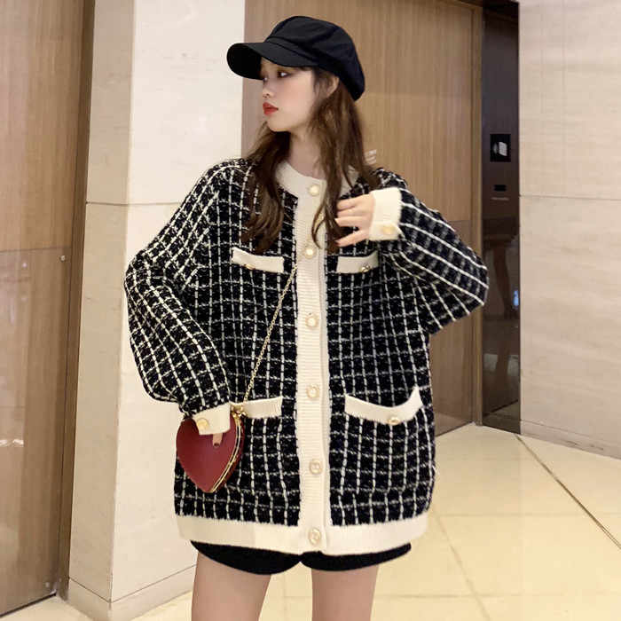 Koreaanse Tweed Plaid Wollen Blazer Vrouwen 2020 Winter Herfst Vrouwelijke Lange Jas Thicken Jassen Loose Oversize Casual Slim Blazers 0079