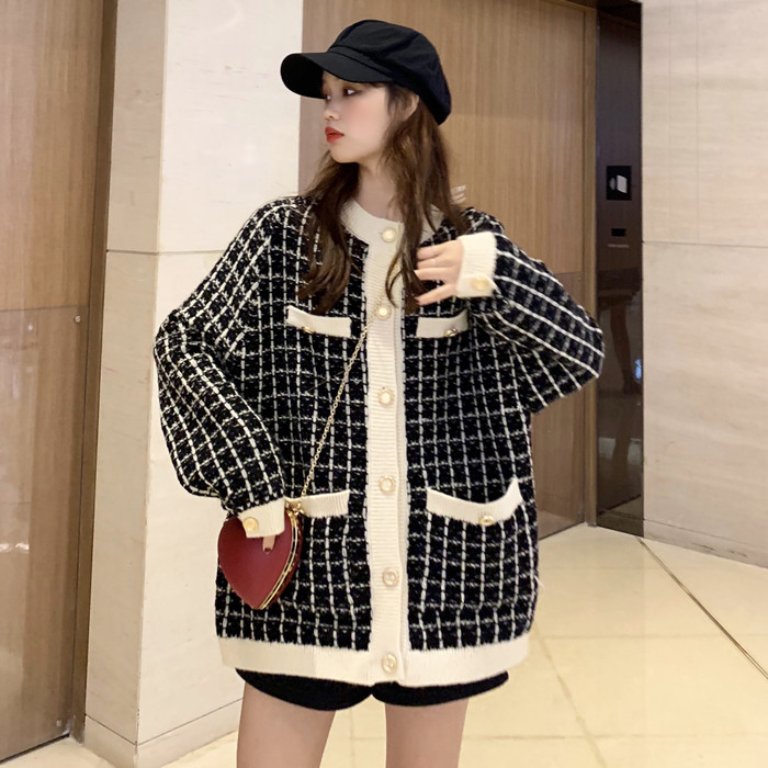 Korean Tweed Plaid Wool Blazer Women 2019 Winter Autumn Vintage Long Suits Thicken Jackets Loose Oversize Casual Blazers S0079