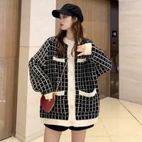 Korean Tweed Plaid Wool Blazer Women 2020 winter Autumn Female long Coat Thicken Jackets loose Oversize Casual Slim Blazers 0079