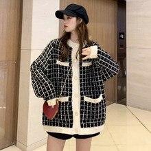 Korean Tweed Plaid Wool Blazer Women 2020 winter Autumn Female long Coat Thicken