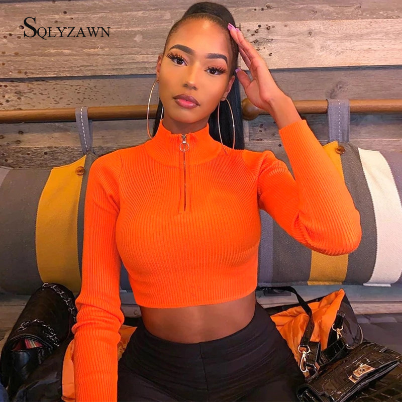 Women Turtleneck Long Sleeve Cropped Sweater Sexy Fall Thin Knitted Neon Pink Orange Green Bodycon Pullover Streetwear Clothes