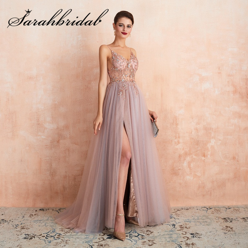 Sexy   Evening     Dresses   2019 Floor Length Beading Sequined V-neck Split Spaghetti Strap Tulle Zipper Prom Party Gown SQS46359