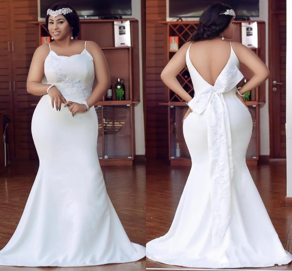 Sexy Cheap Arabic Plus Size Prom Dresses Cheap Spaghetti Straps Floor Length Backless Satin Evening Gowns With Bow