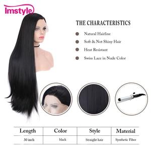 Image 4 - Imstyle Zwarte Pruik Lange Synthetische Lace Front Pruiken Straight Natuurlijke Haar Pruiken Voor Vrouwen Hittebestendige Vezel Cosplay Pruiken