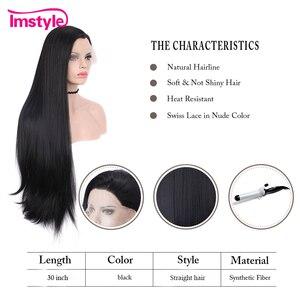 Image 4 - Imstyle黒かつらロング合成レースの前部かつらストレート自然な髪のかつら女性耐熱繊維コスプレかつら