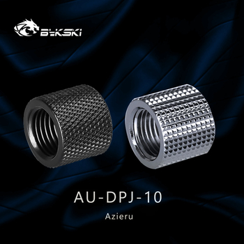Azieru  iAU-DPJ-10 Diamond Pattern Double G1/4 Thread Female Butt Joint Connector Extender,Tube Fittings Black/Silver 1